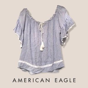 american eagle off-the-shoulder striped top